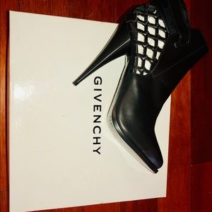 Givenchy black leather ankle booties.